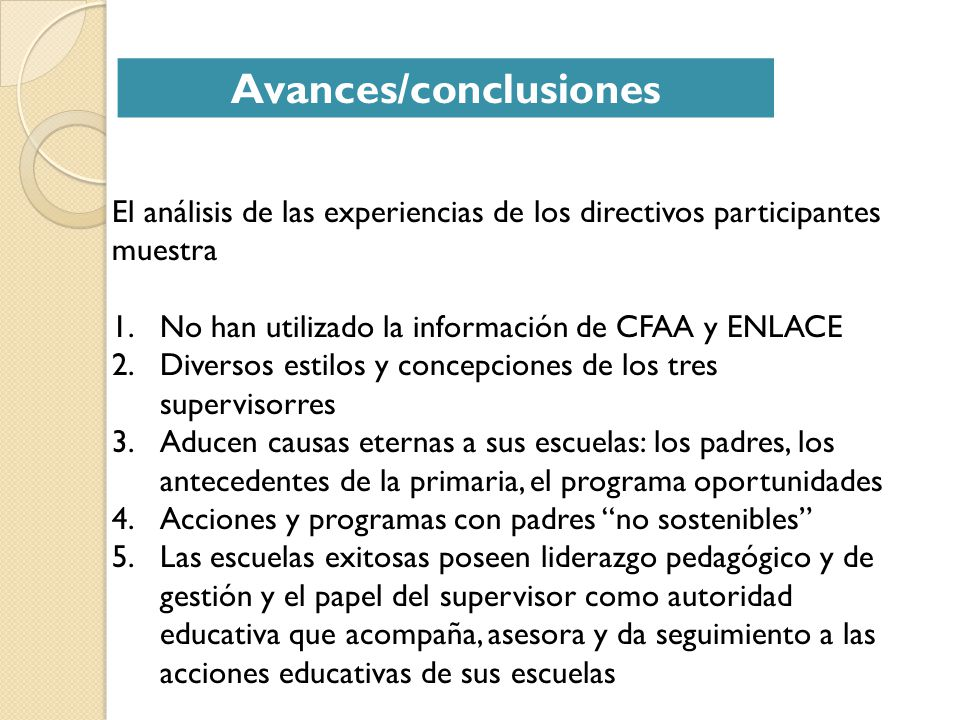 Avances/conclusiones
