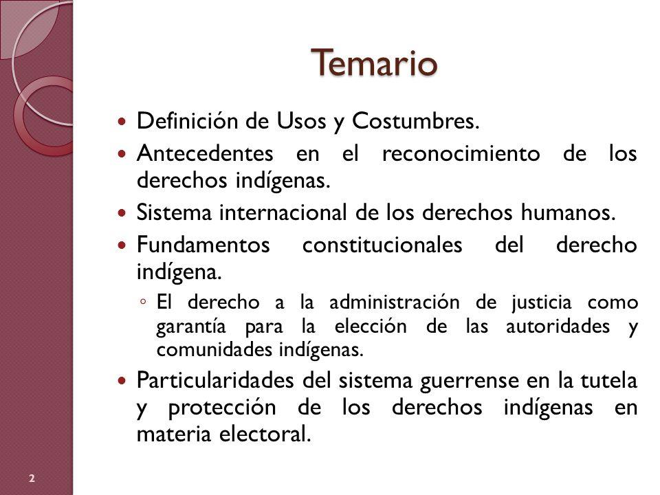 Temario Definición de Usos y Costumbres.