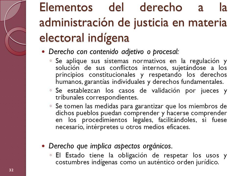 Elementos del derecho a la administración de justicia en materia electoral indígena