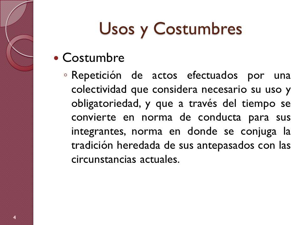 Usos y Costumbres Costumbre