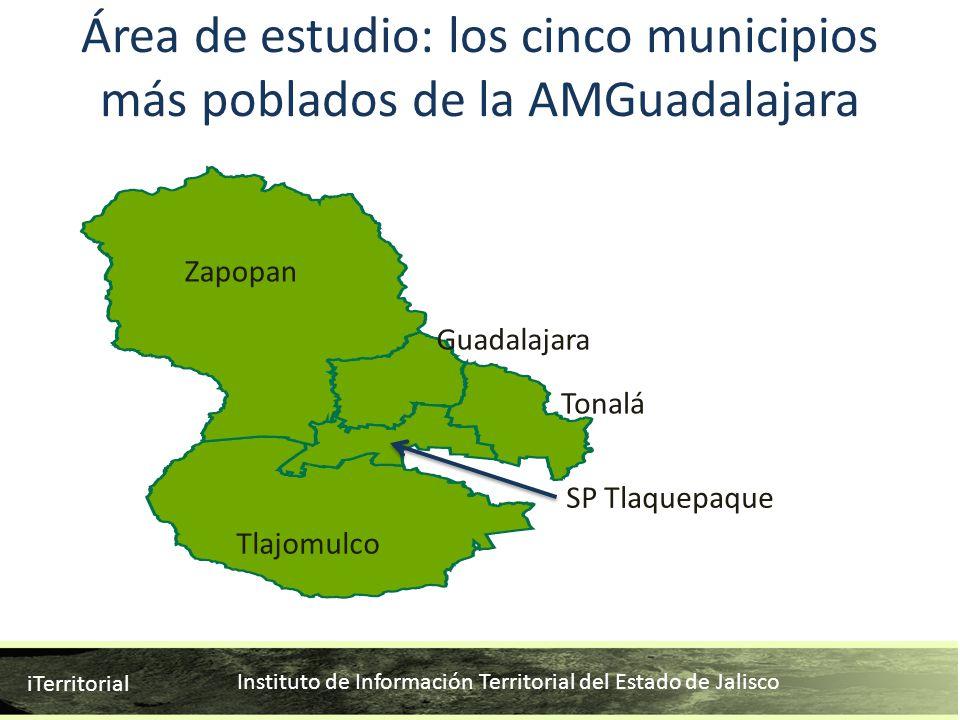 Área de estudio: los cinco municipios más poblados de la AMGuadalajara