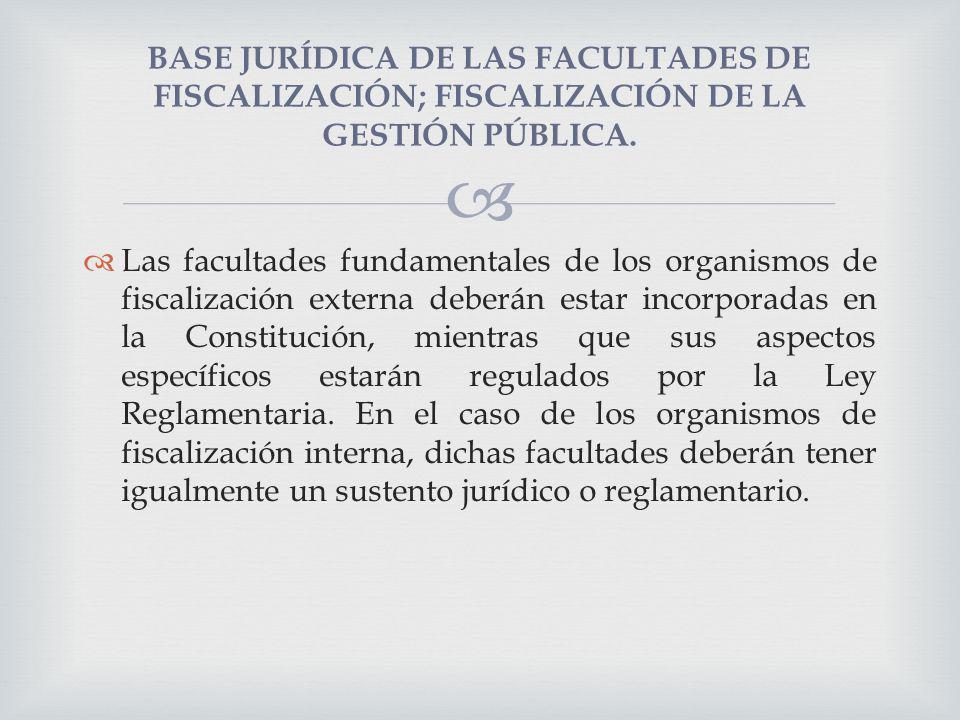 BASE JURÍDICA DE LAS FACULTADES DE FISCALIZACIÓN; FISCALIZACIÓN DE LA GESTIÓN PÚBLICA.