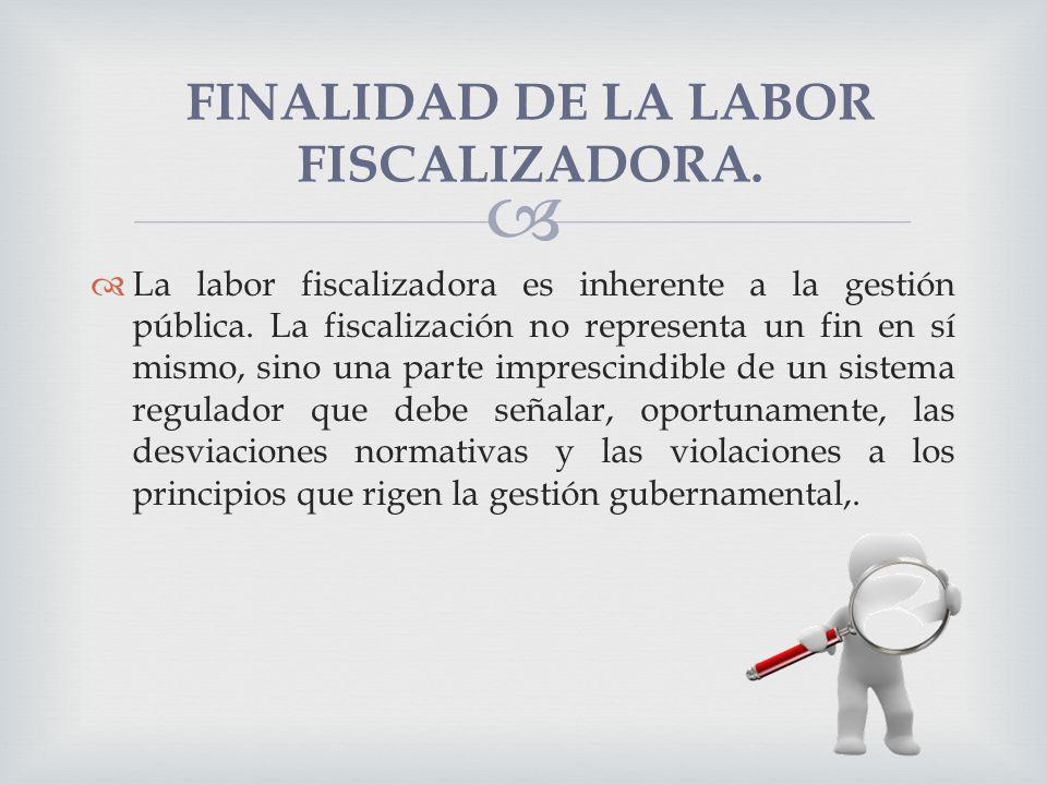FINALIDAD DE LA LABOR FISCALIZADORA.