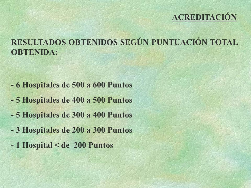 ACREDITACIÓN RESULTADOS OBTENIDOS SEGÚN PUNTUACIÓN TOTAL OBTENIDA: - 6 Hospitales de 500 a 600 Puntos.