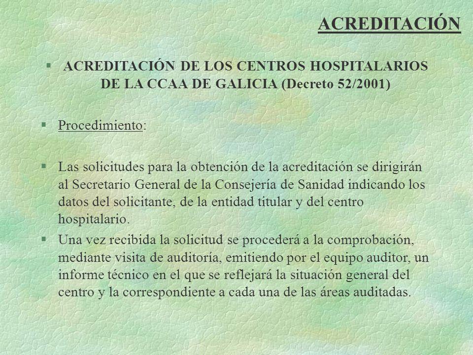 ACREDITACIÓN ACREDITACIÓN DE LOS CENTROS HOSPITALARIOS DE LA CCAA DE GALICIA (Decreto 52/2001) Procedimiento:
