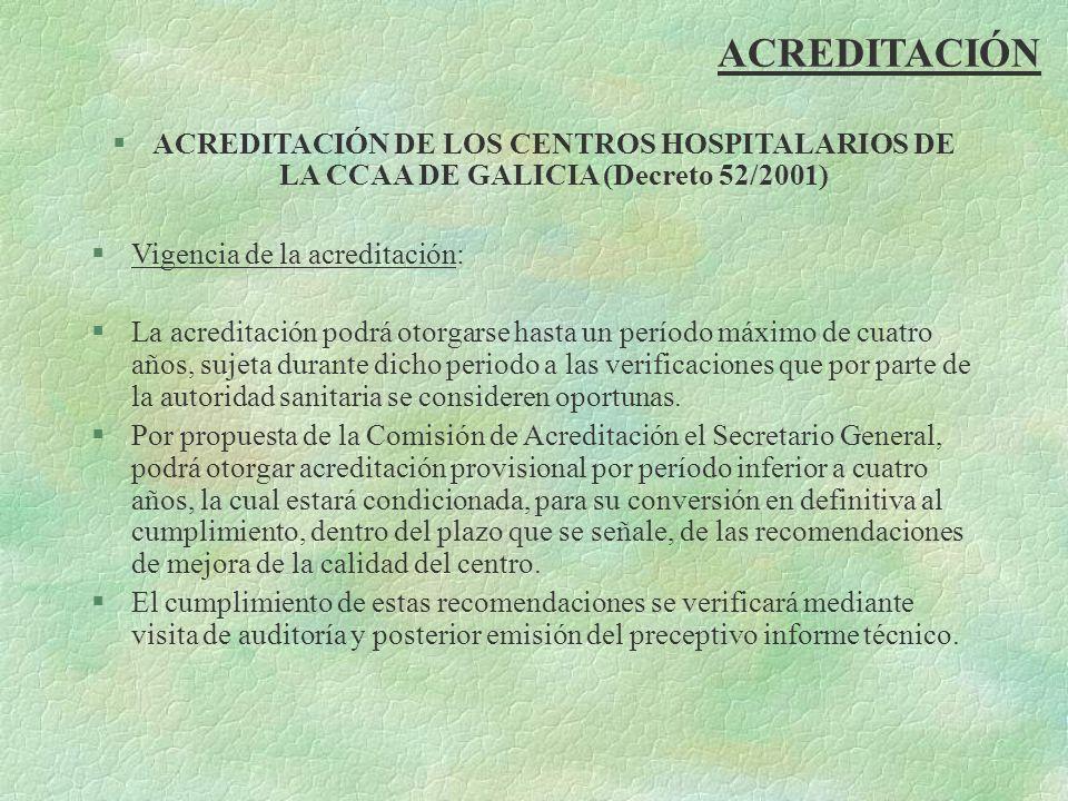 ACREDITACIÓN ACREDITACIÓN DE LOS CENTROS HOSPITALARIOS DE LA CCAA DE GALICIA (Decreto 52/2001) Vigencia de la acreditación: