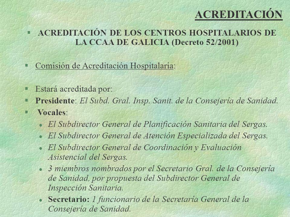 ACREDITACIÓN ACREDITACIÓN DE LOS CENTROS HOSPITALARIOS DE LA CCAA DE GALICIA (Decreto 52/2001) Comisión de Acreditación Hospitalaria: