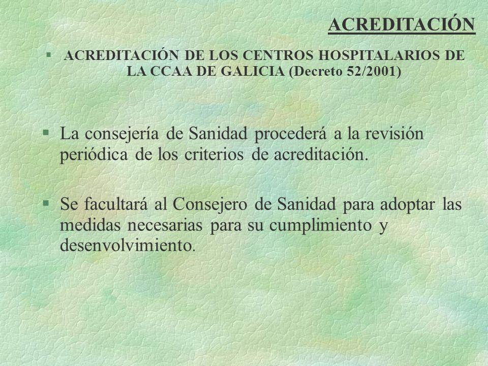 ACREDITACIÓNACREDITACIÓN DE LOS CENTROS HOSPITALARIOS DE LA CCAA DE GALICIA (Decreto 52/2001)