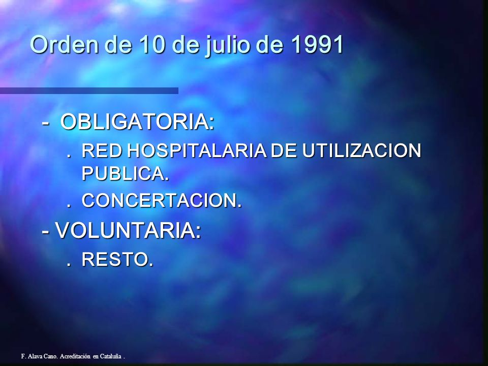 Orden de 10 de julio de 1991 - OBLIGATORIA: - VOLUNTARIA: