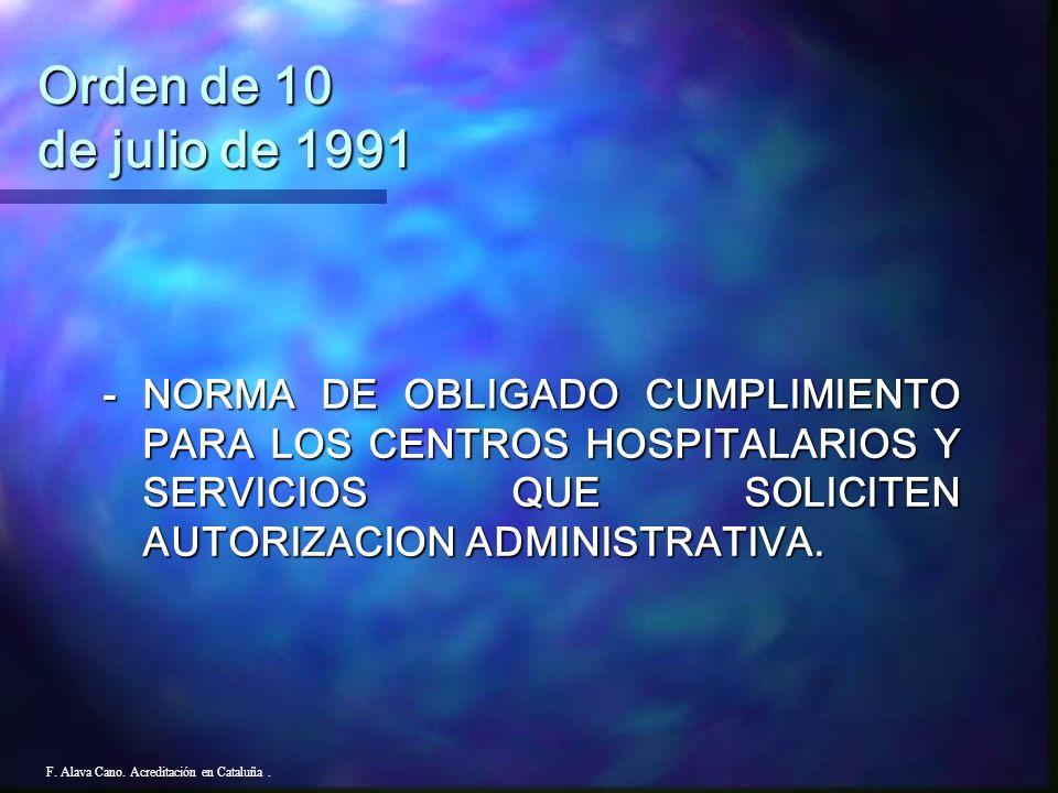 Orden de 10 de julio de 1991- NORMA DE OBLIGADO CUMPLIMIENTO PARA LOS CENTROS HOSPITALARIOS Y SERVICIOS QUE SOLICITEN AUTORIZACION ADMINISTRATIVA.