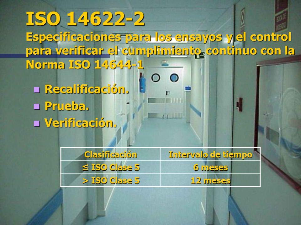 ISO 14622-2 Especificaciones para los ensayos y el control para verificar el cumplimiento continuo con la Norma ISO 14644-1