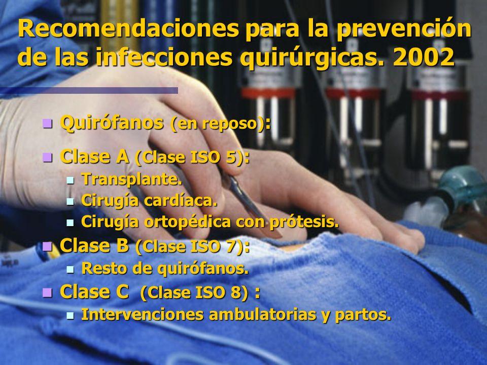 Recomendaciones para la prevención de las infecciones quirúrgicas. 2002