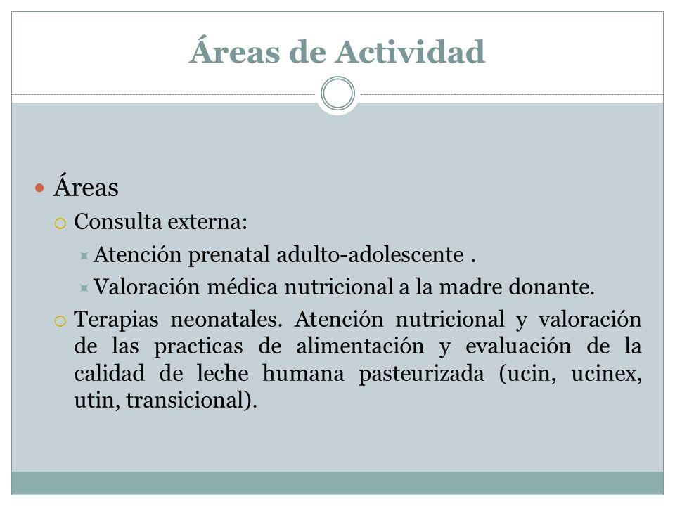Áreas de Actividad Áreas Consulta externa: