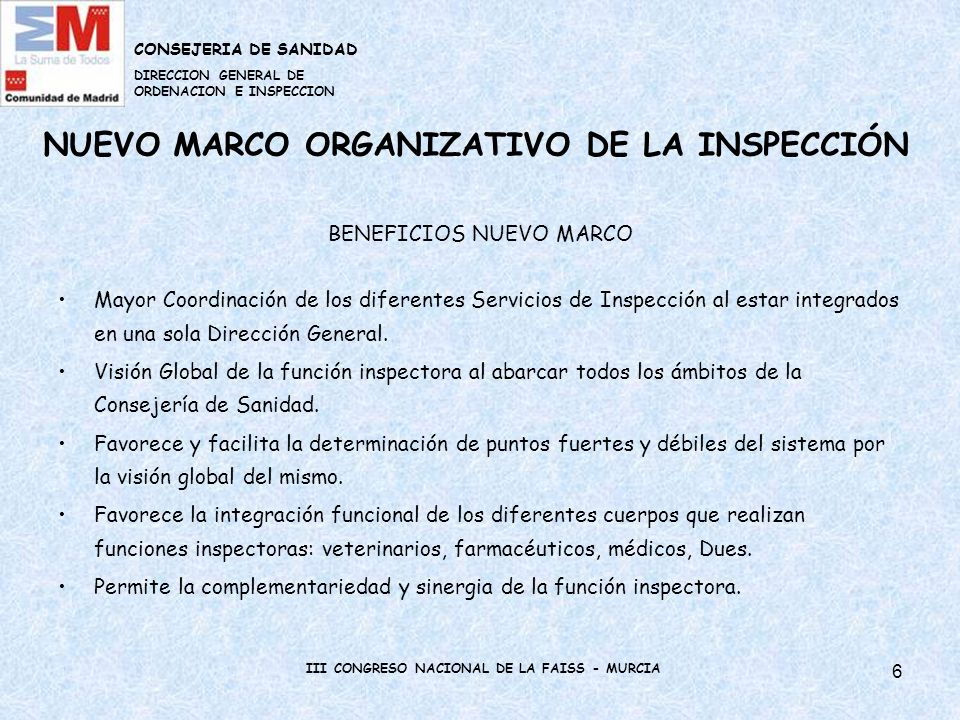 NUEVO MARCO ORGANIZATIVO DE LA INSPECCIÓN