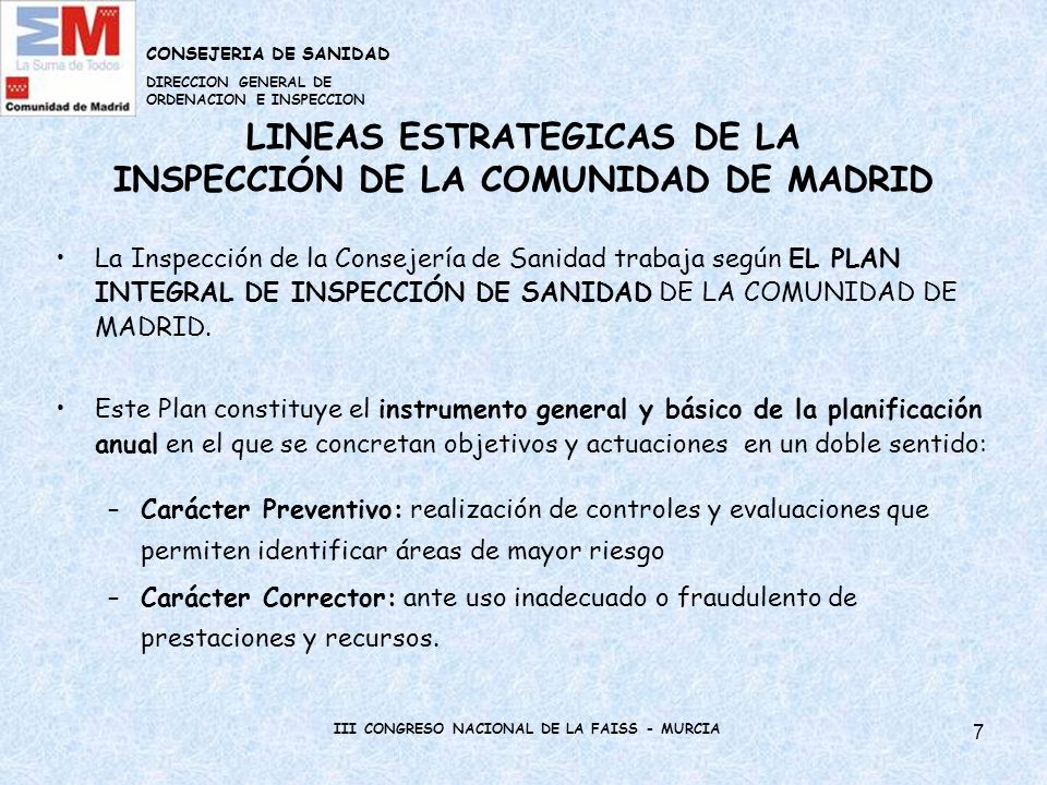 LINEAS ESTRATEGICAS DE LA INSPECCIÓN DE LA COMUNIDAD DE MADRID