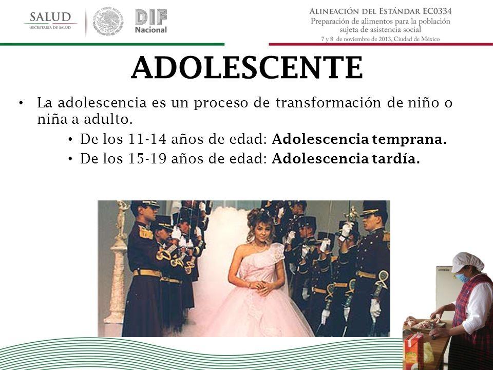 ADOLESCENTE La adolescencia es un proceso de transformación de niño o niña a adulto. De los 11-14 años de edad: Adolescencia temprana.