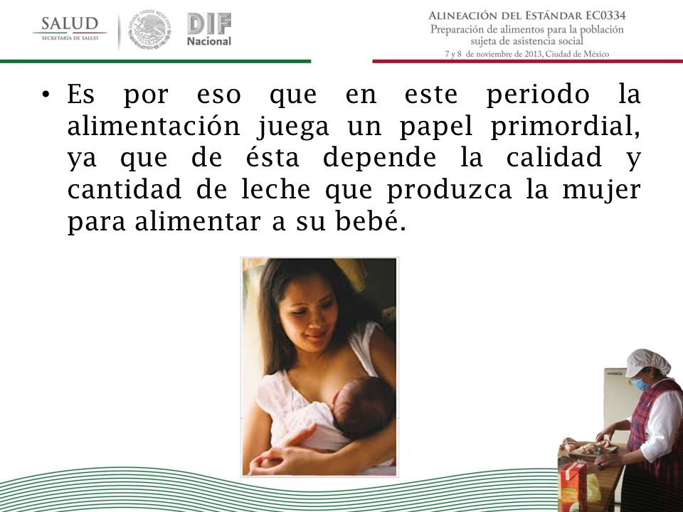 Es por eso que en este periodo la alimentación juega un papel primordial, ya que de ésta depende la calidad y cantidad de leche que produzca la mujer para alimentar a su bebé.