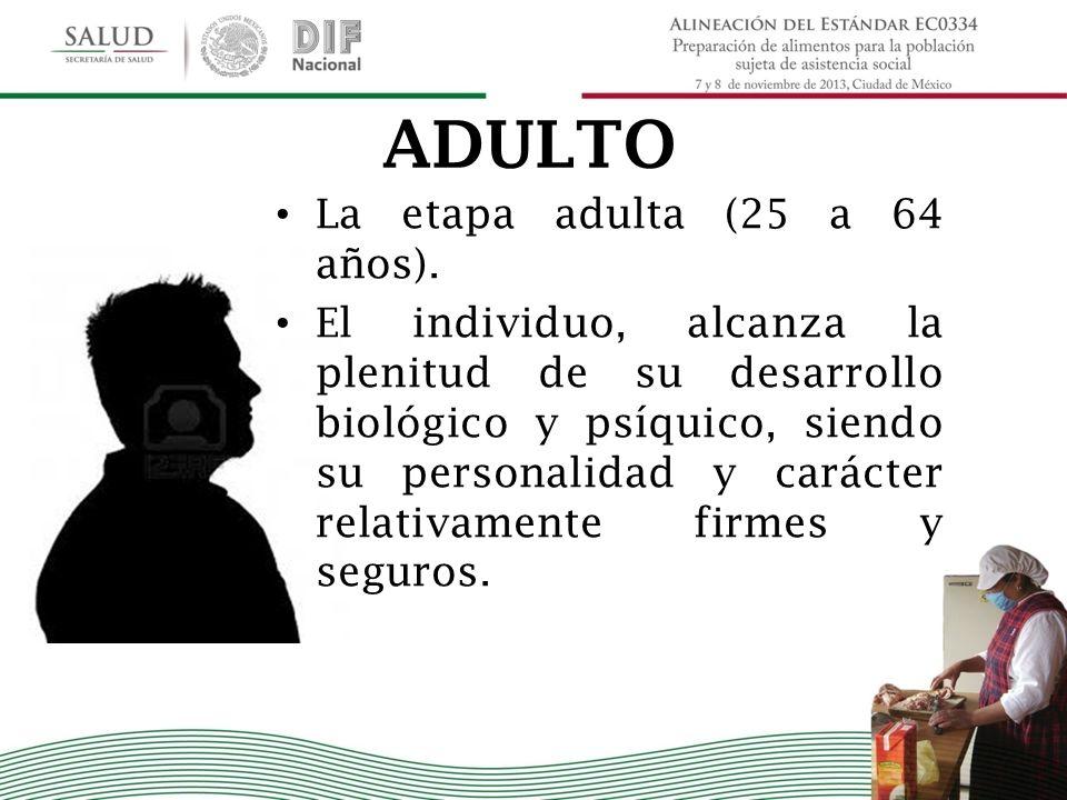 ADULTO La etapa adulta (25 a 64 años).