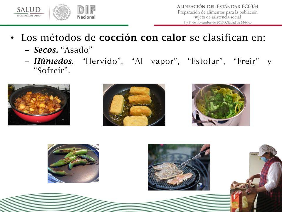 Los métodos de cocción con calor se clasifican en: