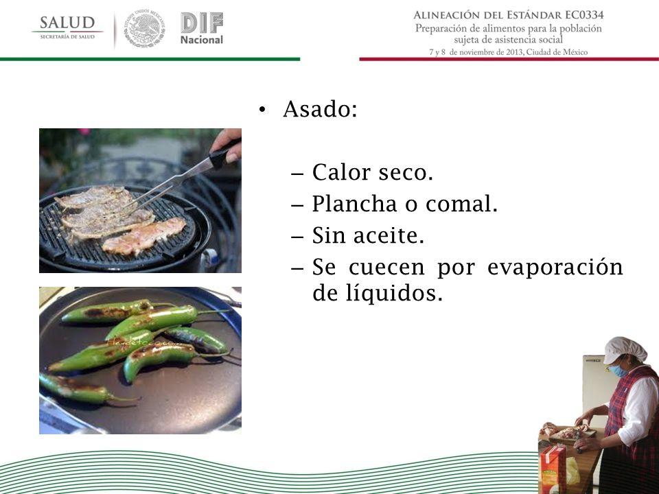 Asado: Calor seco. Plancha o comal. Sin aceite. Se cuecen por evaporación de líquidos.