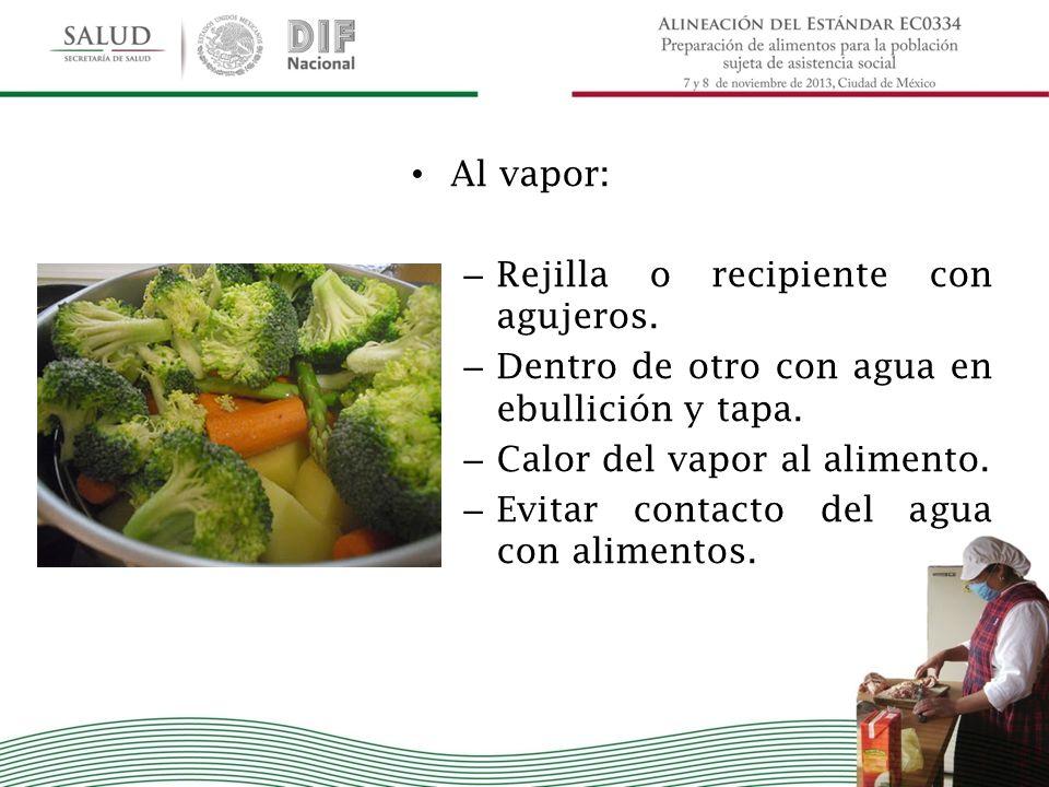 Al vapor: Rejilla o recipiente con agujeros. Dentro de otro con agua en ebullición y tapa. Calor del vapor al alimento.