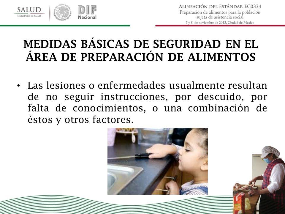 MEDIDAS BÁSICAS DE SEGURIDAD EN EL ÁREA DE PREPARACIÓN DE ALIMENTOS