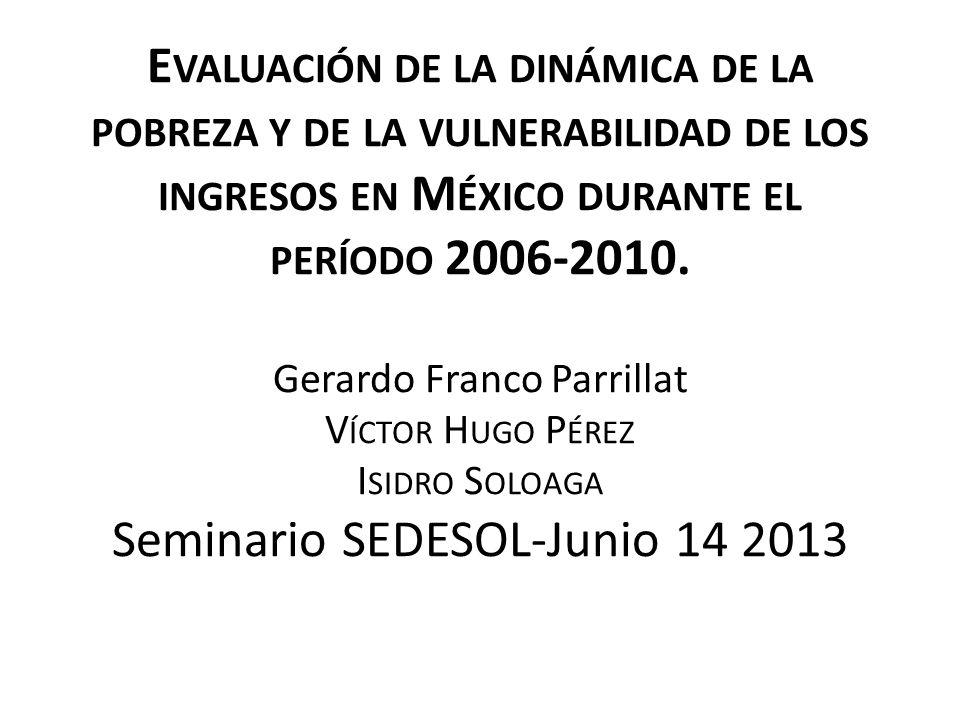 Evaluación de la dinámica de la pobreza y de la vulnerabilidad de los ingresos en México durante el período 2006-2010.
