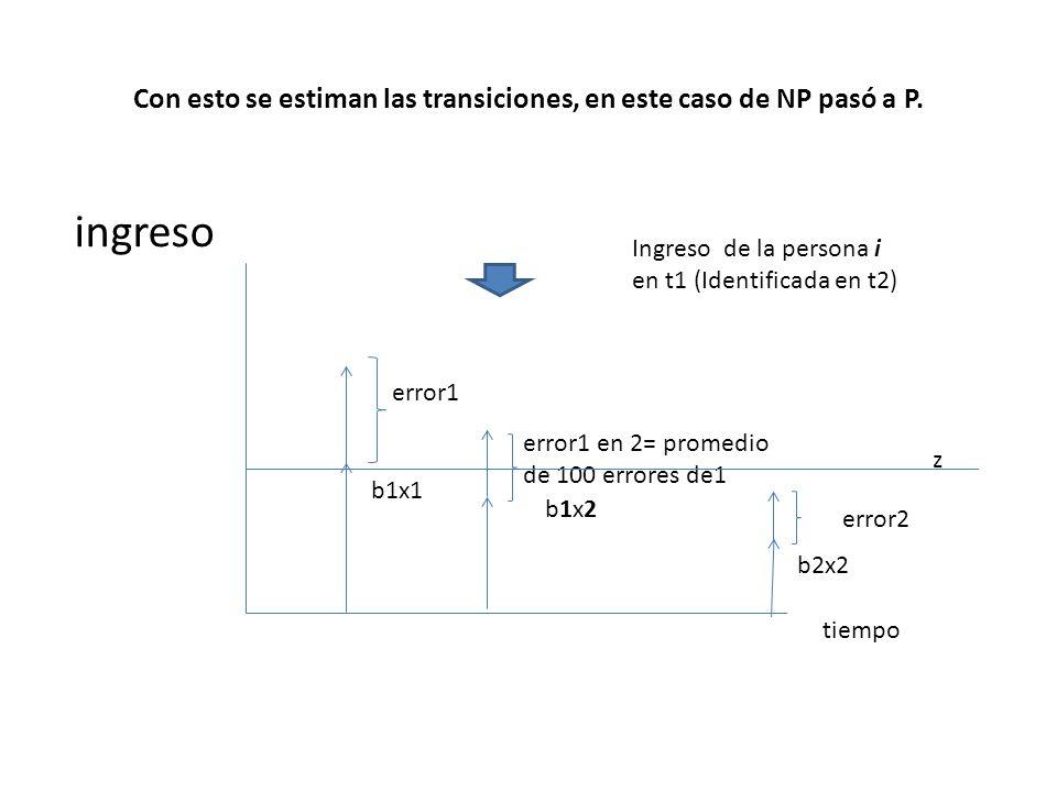 Con esto se estiman las transiciones, en este caso de NP pasó a P.