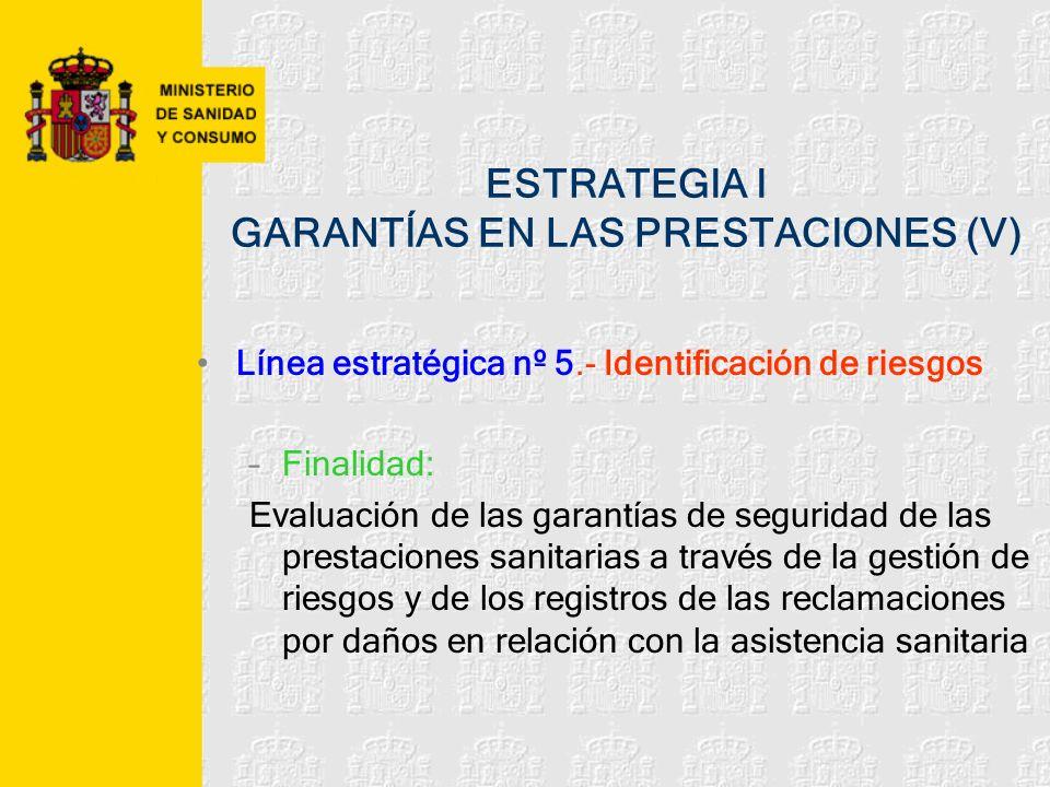 ESTRATEGIA I GARANTÍAS EN LAS PRESTACIONES (V)