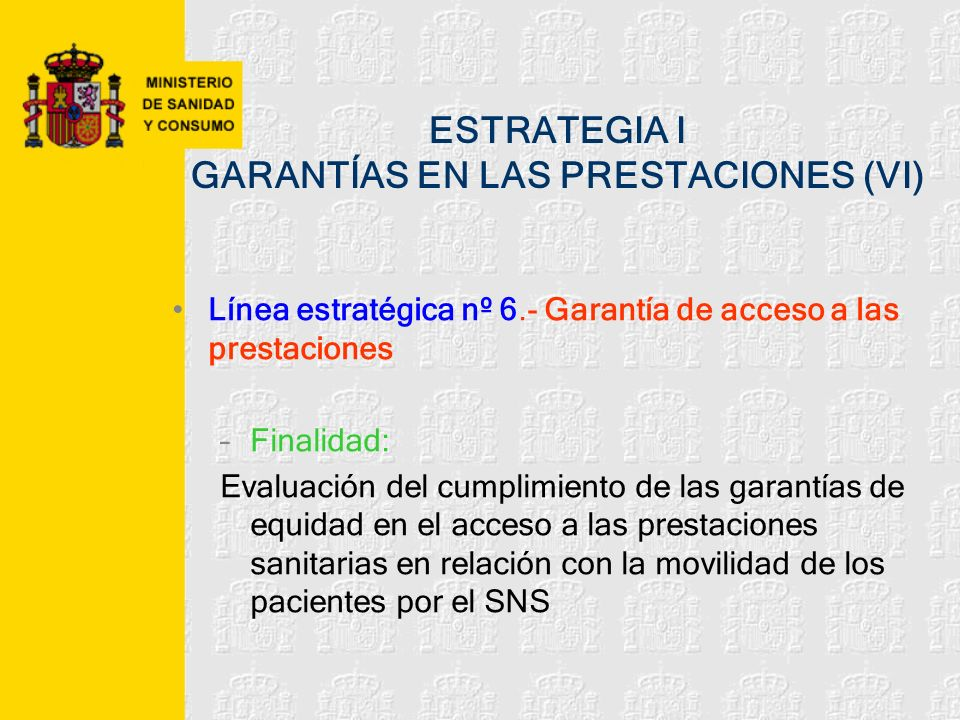 ESTRATEGIA I GARANTÍAS EN LAS PRESTACIONES (VI)