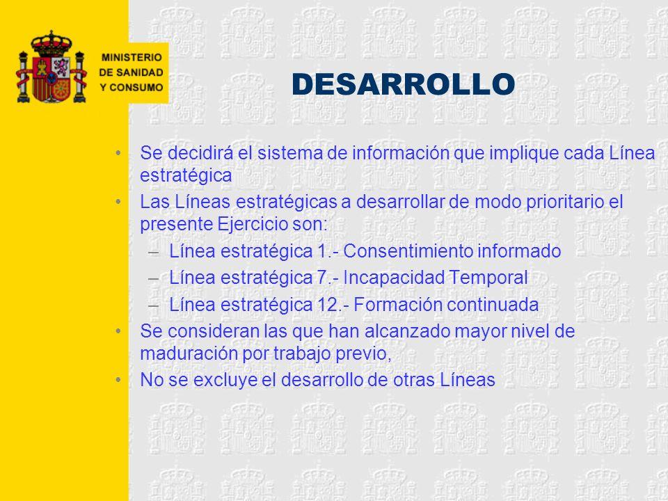 DESARROLLO Se decidirá el sistema de información que implique cada Línea estratégica.
