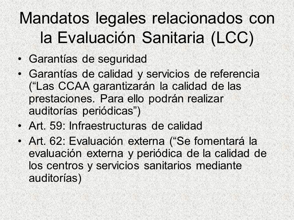 Mandatos legales relacionados con la Evaluación Sanitaria (LCC)