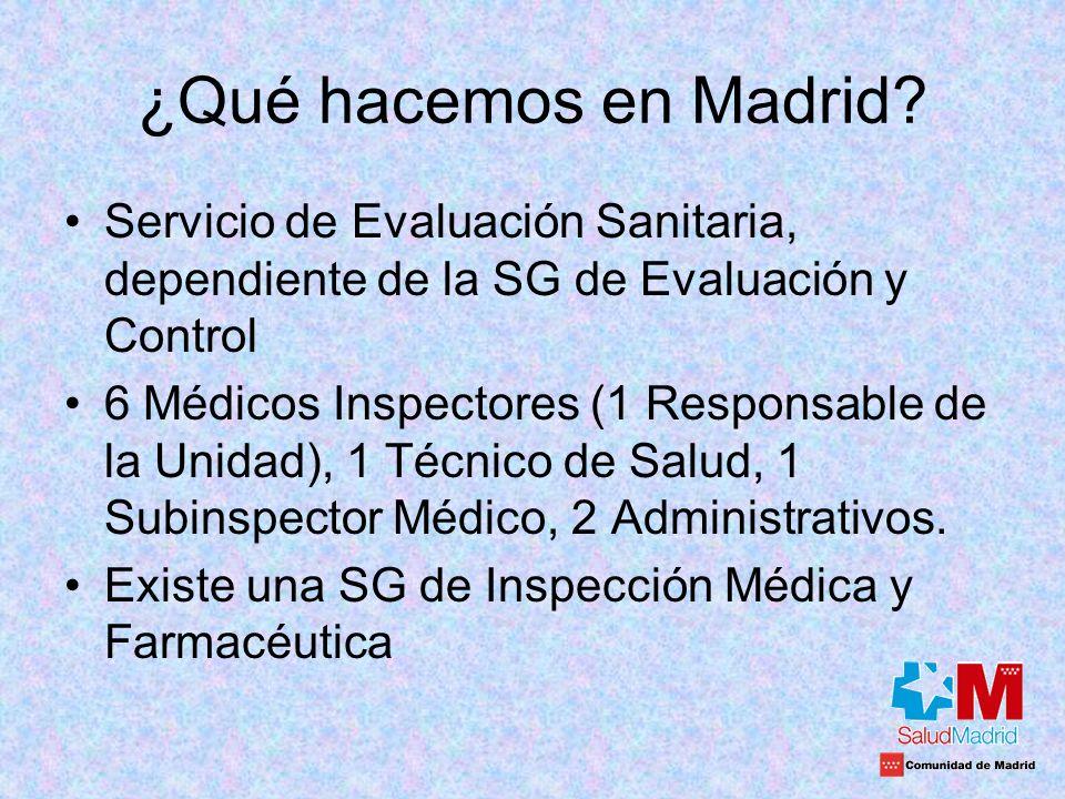 ¿Qué hacemos en Madrid Servicio de Evaluación Sanitaria, dependiente de la SG de Evaluación y Control.