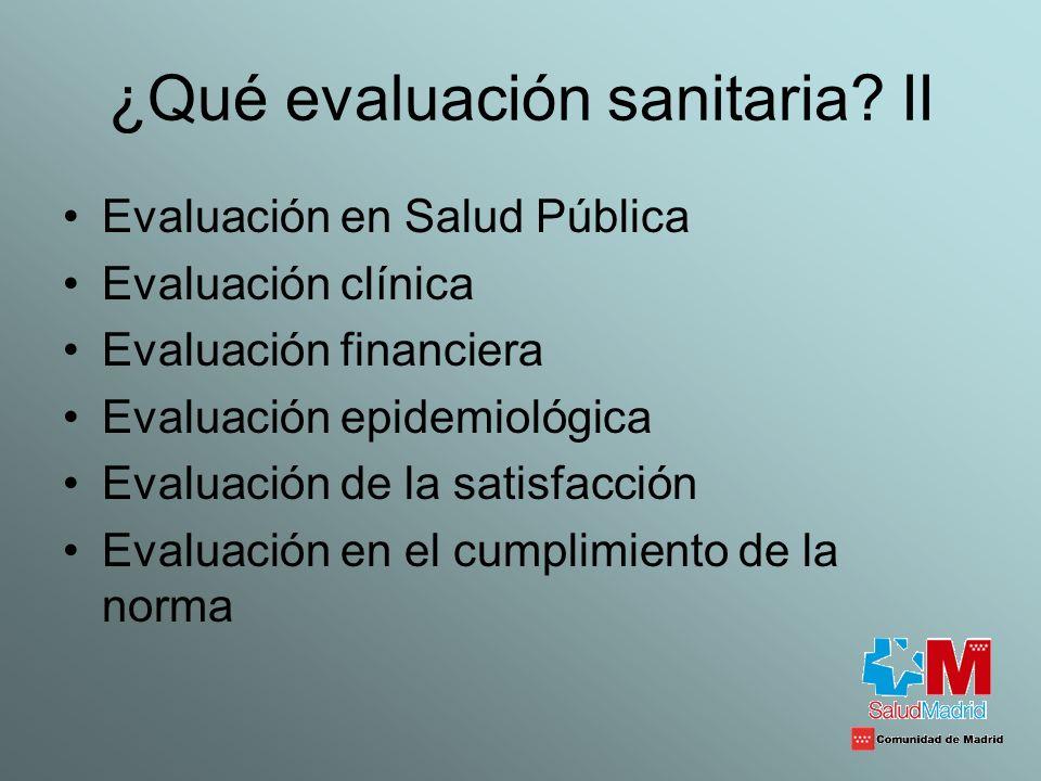 ¿Qué evaluación sanitaria II