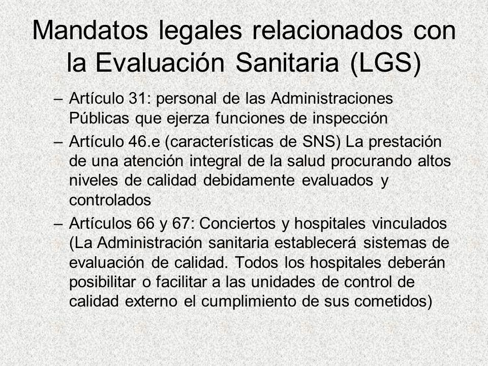Mandatos legales relacionados con la Evaluación Sanitaria (LGS)