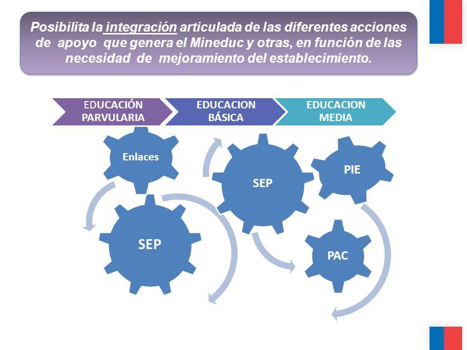 Posibilita la integración articulada de las diferentes acciones de apoyo que genera el Mineduc y otras, en función de las necesidad de mejoramiento del establecimiento.