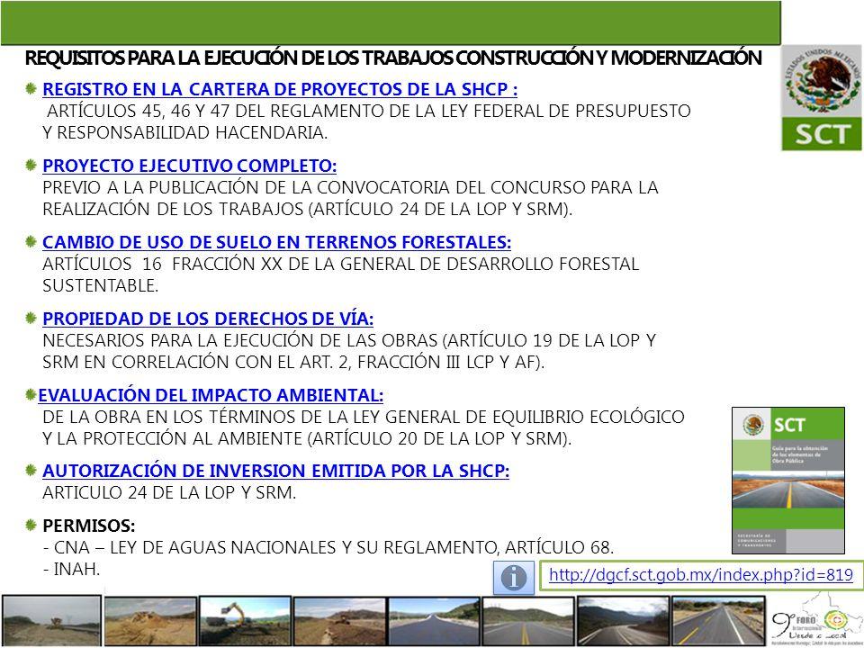 REQUISITOS PARA LA EJECUCIÓN DE LOS TRABAJOS CONSTRUCCIÓN Y MODERNIZACIÓN