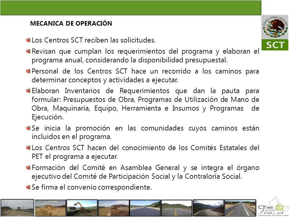Los Centros SCT reciben las solicitudes.