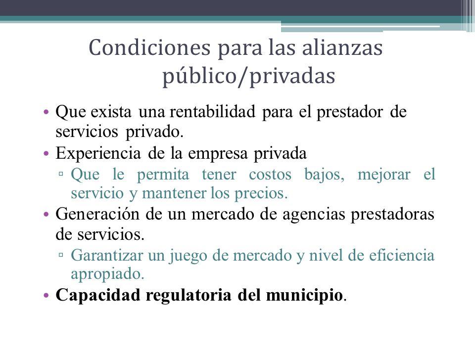 Condiciones para las alianzas público/privadas