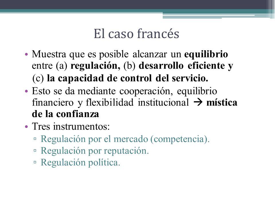 El caso francés Muestra que es posible alcanzar un equilibrio entre (a) regulación, (b) desarrollo eficiente y.