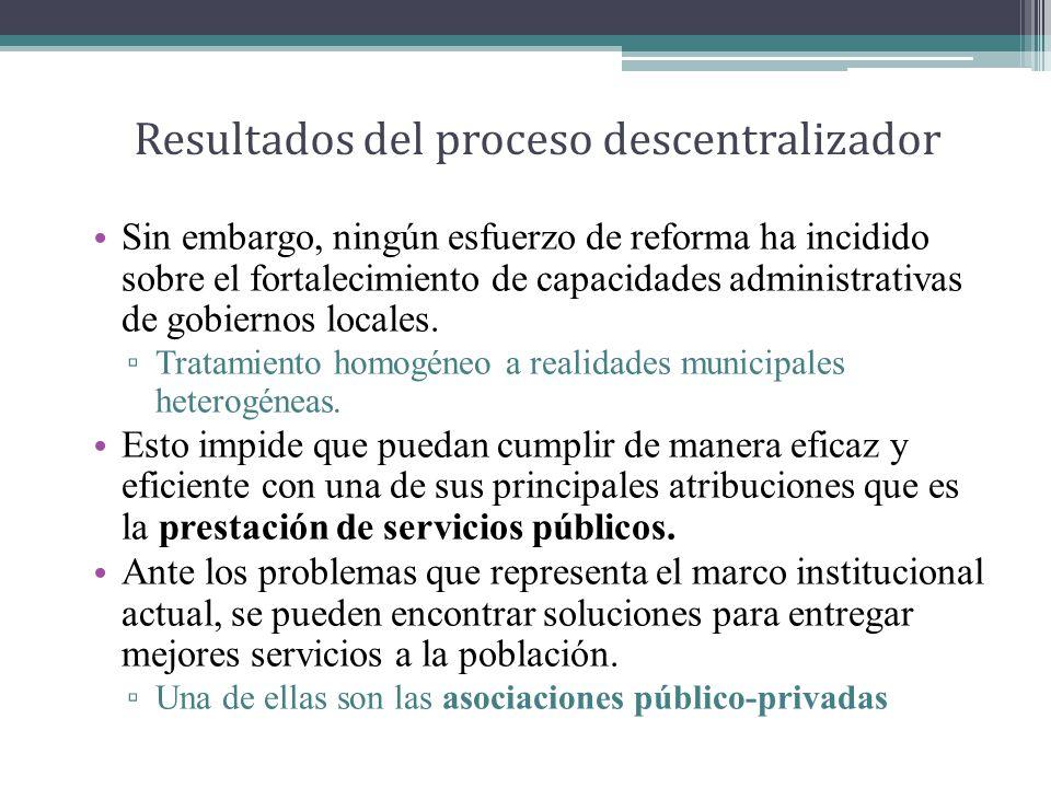 Resultados del proceso descentralizador