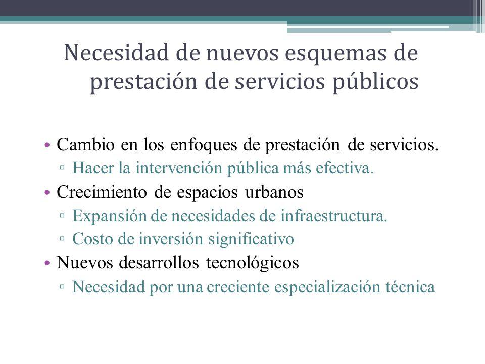 Necesidad de nuevos esquemas de prestación de servicios públicos