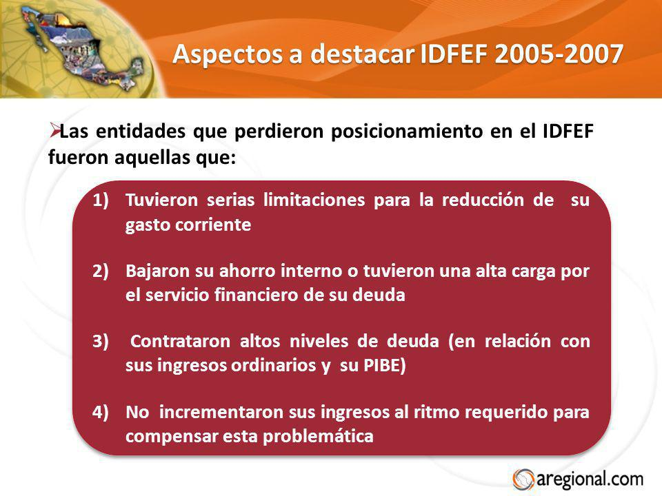 Aspectos a destacar IDFEF 2005-2007