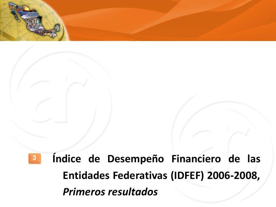 Índice de Desempeño Financiero de las Entidades Federativas (IDFEF) 2006-2008, Primeros resultados
