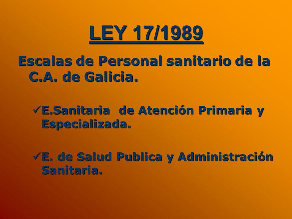 LEY 17/1989 Escalas de Personal sanitario de la C.A. de Galicia.