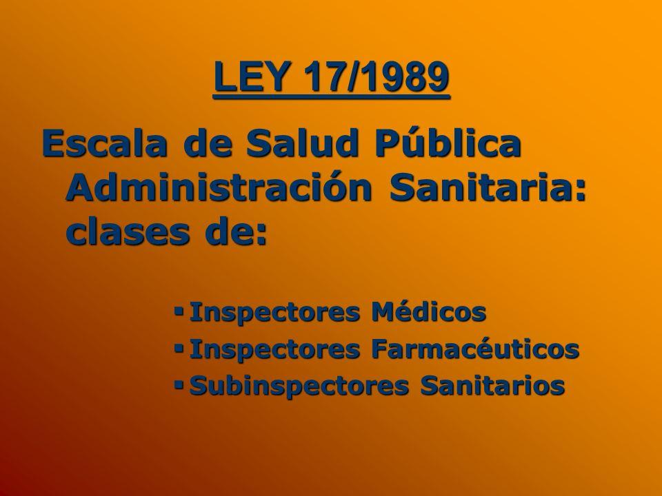 LEY 17/1989Escala de Salud Pública Administración Sanitaria: clases de: Inspectores Médicos. Inspectores Farmacéuticos.