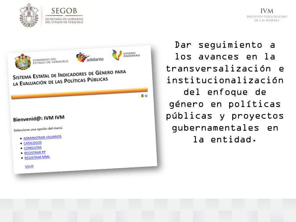 Dar seguimiento a los avances en la transversalización e institucionalización del enfoque de género en políticas públicas y proyectos gubernamentales en la entidad.