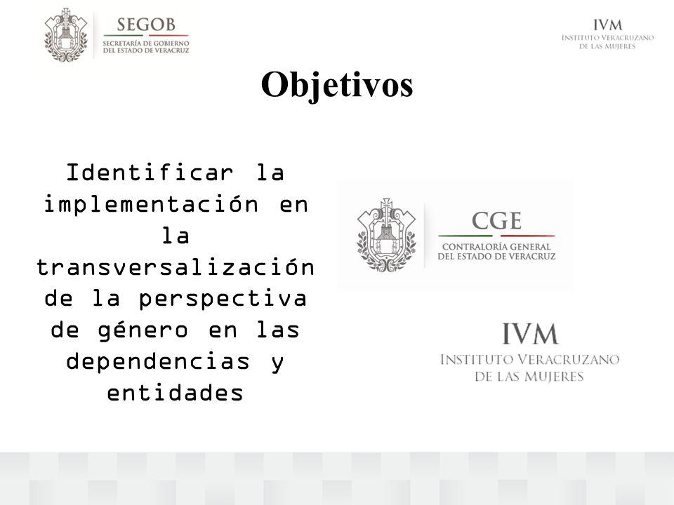 Objetivos Identificar la implementación en la transversalización de la perspectiva de género en las dependencias y entidades.