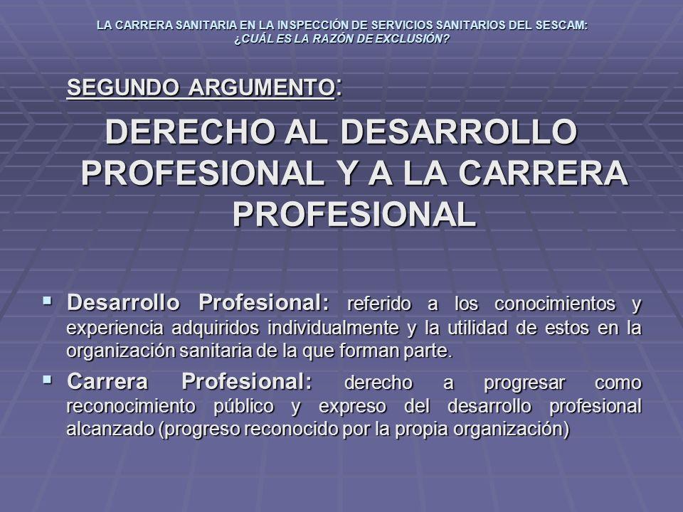 DERECHO AL DESARROLLO PROFESIONAL Y A LA CARRERA PROFESIONAL