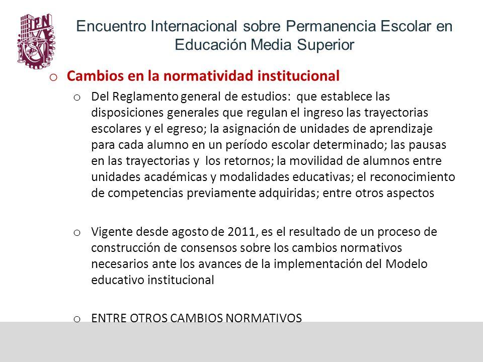 Cambios en la normatividad institucional